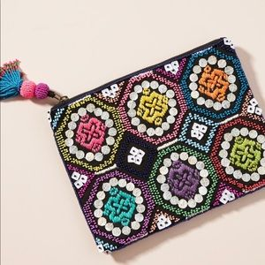 New Anthropologie Adira Embellished Pouch Clutch